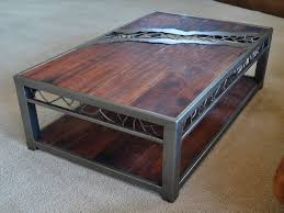 Rustic Iron Coffee Table Fascinating Brown And Black Rectangle Rustic Wood Metal Coffee