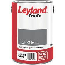 leyland trade high gloss paint brilliant white 5ltr gloss paints
