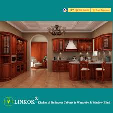 High Quality Kitchen Cabinets Linkok Furniture Dark Brown Solid Wood Kitchen Cabinets Modular