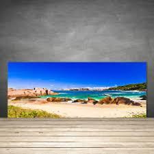 panneau credence cuisine crédence de cuisine en verre panneau 125x50 paysage plage rocheuse