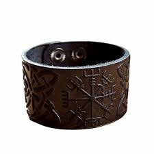 amazon com genuine leather viking bracelet cuff wristband celtic