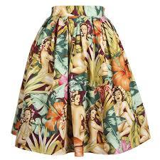 hawaiian pattern skirt 50s swing vintage american and european style womens skirts hawaii