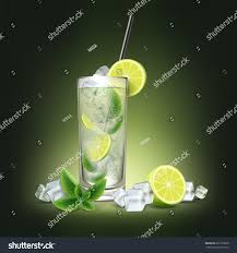 mojito cocktail bottle mojito cocktail fresh sliced lime ice stock vector 631318580