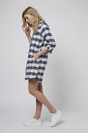 topshop oversized check shirt dress in gray lyst