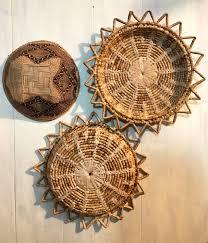 Rattan Baskets by Woven Straw Wall Baskets Rattan Basket Trays Starburst Basket