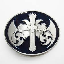blue enamel vintage celtic iron cross oval belt buckle