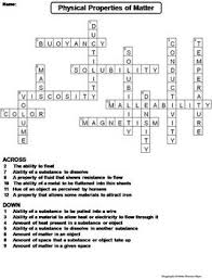 physical properties of matter worksheet crossword puzzle by