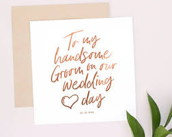 wedding day cards from groom to wedding greeting cards etsy uk