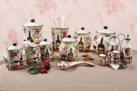 grape kitchen canisters lorren home trends grape ceramic deluxe 3 piece kitchen canister