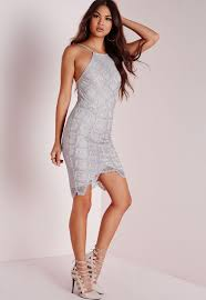 grey bodycon dress lace bodycon dress grey missguided