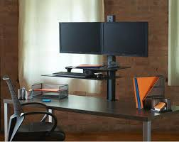 Computer Desk Dual Monitor with Taskmate Slide Electric Dual Monitor Sit Stand Adjustable Height