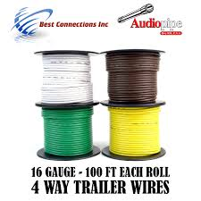 trailer wire light cable for harness 4 way cord 16 gauge 100ft