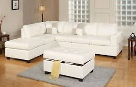 Reversible Sectional Sofa Chaise 3pc Bonded Leather White Modern Reversible Sectional Couch Sofa