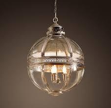 Rh Chandelier 19th C Victorian Globe Pendant Chandelier Polished Nickel Dia