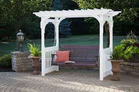 Swing Pergola by Berlin Gardens Vinyl Swing Arbor Amish Yard