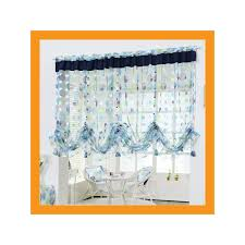 Blue Valance Curtains Large Balloon Shade Valance Curtain W Beads Decoration