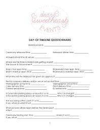 wedding flowers questionnaire dear sweetheart eventsbride to day of timeline tips dear