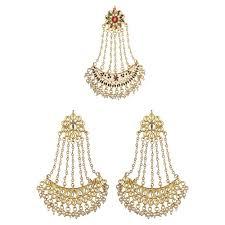 dangler earrings buy kundan chand bali gold plated dangler earrings passa jhoomar