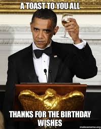 Thank You Birthday Meme - a toast to you all thanks for the birthday wishes make a meme