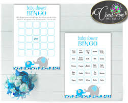 baby shower boy bingo 60 cards game and empty gift bingo aqua blue
