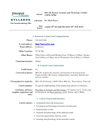 Human Anatomy And Physiology Courses Online Bio 201 Syllabus Fall 2012 Online