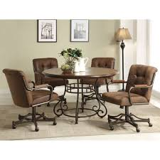 Kitchen Table With Wheels by Furniture Brown Leather Kitchen Chairs With Wheels Having Tufted
