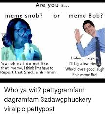 are you a meme snob or meme bob mfao nice po ew oh no i do not