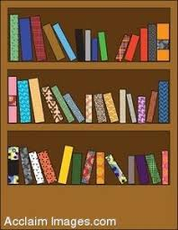 clipart illustration of a wooden bookshelf with different