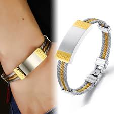 gold bangle bracelet men images Buy men bracelet bangle stainless steel rope jpg