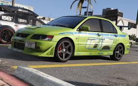 green mitsubishi lancer mitsubishi lancer evolution 2fast 2furious gta5 mods com