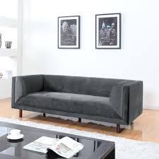Modern Single Sofa Modern Grey Velvet Mid Century 3 Seater Sofa Single Long Cushion