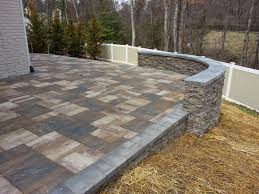 Lowes Patio Stone by Exterior Design Interesting Cambridge Pavers With Stone Bench And