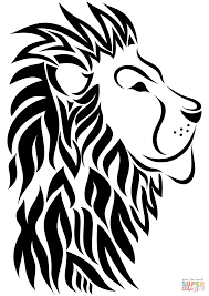 tribal lion tattoo coloring free printable coloring pages