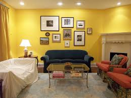 large open living space in yellow wall color design with stylish