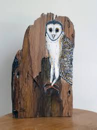 owl item hand painted driftwood bird lover gift bird art bird artwork