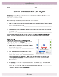 force and fan carts gizmo answer key fillable online student exploration fan cart physics my science 8