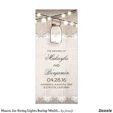 burlap wedding programs jar string lights burlap wedding programs rustic wedding