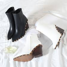 s high boots s high heeled shoes with the same paragraph pointed rivets