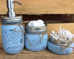 painted mason jars bathroom decor rustic decor mason jars