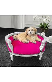 canapé lit pour chien canapé lit baroque pour chien ou tissu fuchsia bois argent