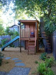 Backyard Forts Kids Boys Playhouse Ideas Boys Fort On Stilts With Slide And Tree