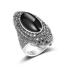 black crystal rings images Mytys vintage rings for women retro silver black jpg