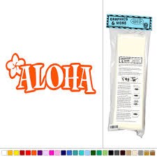 aloha plumeria hawaiian tropical vinyl sticker decal wall art