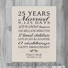 25 year anniversary gift 25th anniversary by printsbychristine