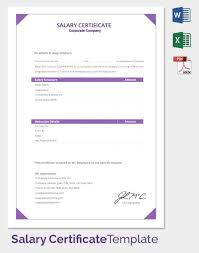 salary certificate template 24 free word excel pdf psd
