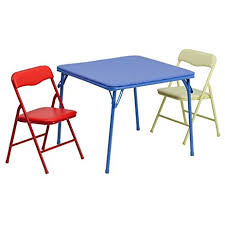 Kitchen Folding Table And Chairs - amazon com flash furniture kids colorful 3 piece folding table