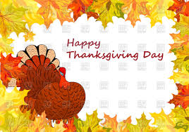 thanksgiving day background with maple leaves frame vector clipart
