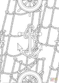 anchor and handwheels pattern coloring page free printable