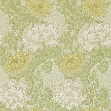 chrysanthemum wallpaper pale olive 212545 william morris