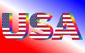 American Flag In Text Clipart Usa Flag Typography Rainbow